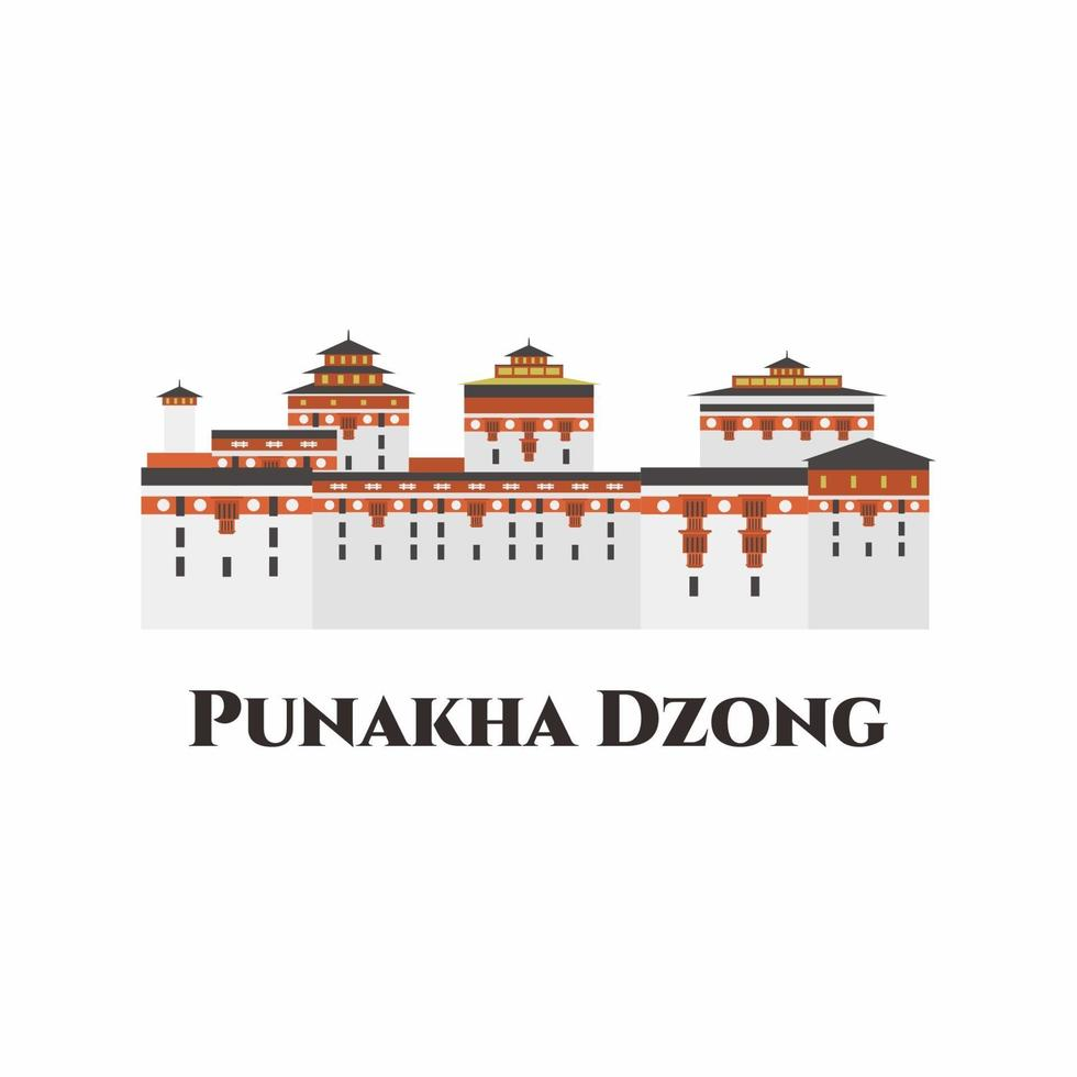 Punakha Dzong or Pungthang Dewa chhenbi Phodrang in Buthan.  Heritage building. The whole place is very majestic and decorative. Highly recommended for tourist visit. Vector flat illustration