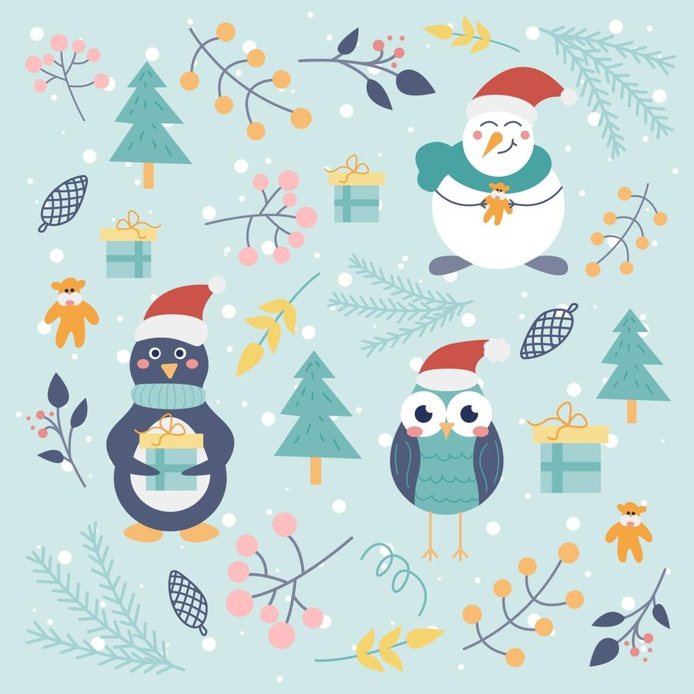 Christmas set of cute characters penguin, owl, snowman and decorative elements on a light background with snowflakes. Winter illustration, pattern, children's decor. Vector flat style