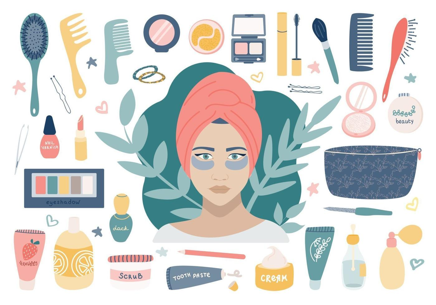 Large cosmetic set with grooming cosmetics. A girl with patches under her eyes, a makeup bag and its contents. Vector image on a white background