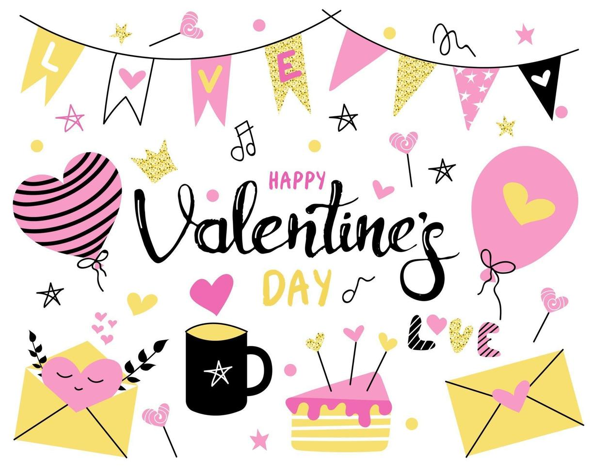 Set with Valentine's day on a white background. Bright pink, yellow colors. Flags, Valentines, candy, cake, muffin, balloons and mug. Vector flat image