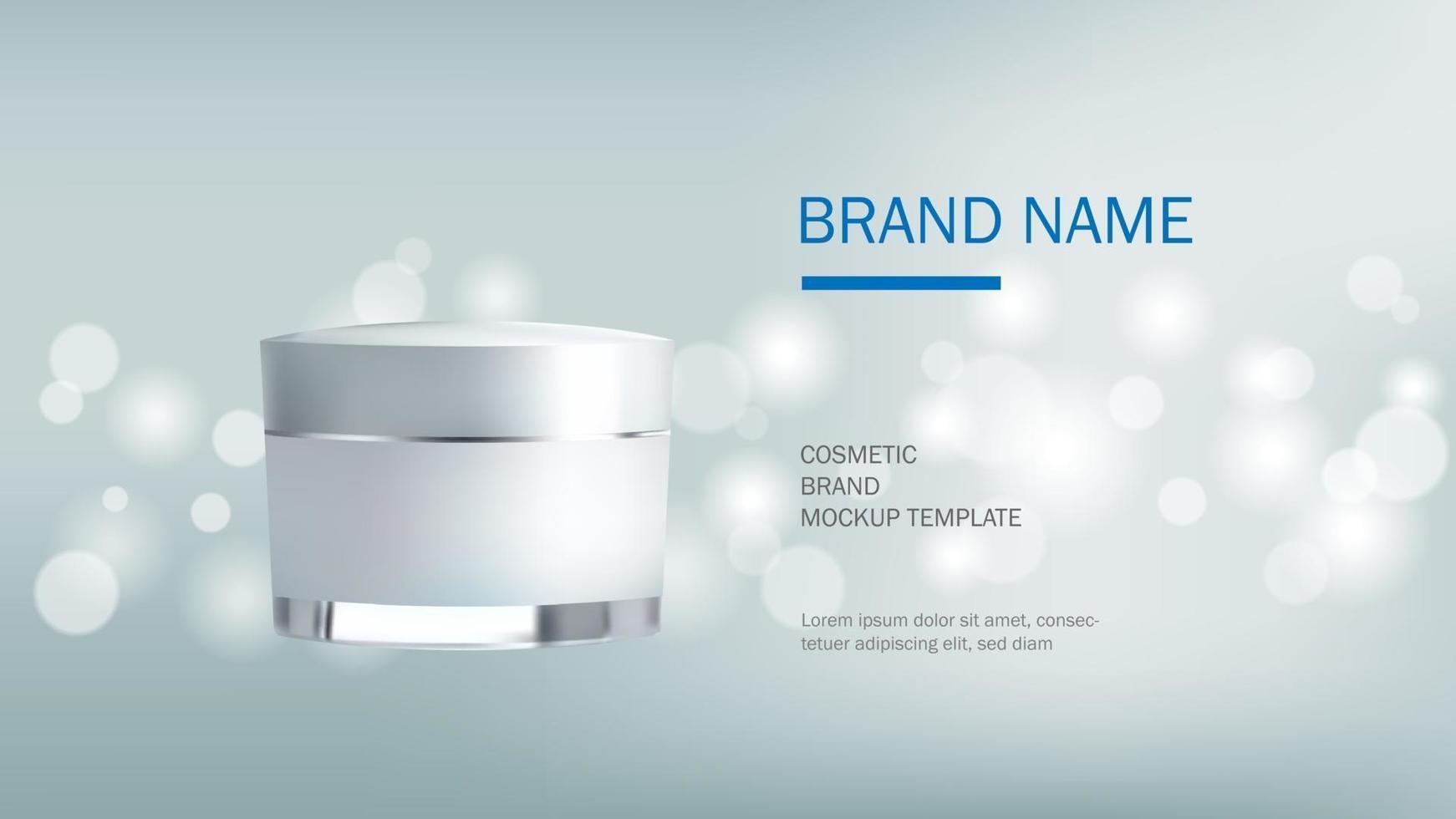 Plantilla de diseño cosmético, botella de crema realista sobre fondo plateado brillo con luz bokeh, ilustración vectorial vector