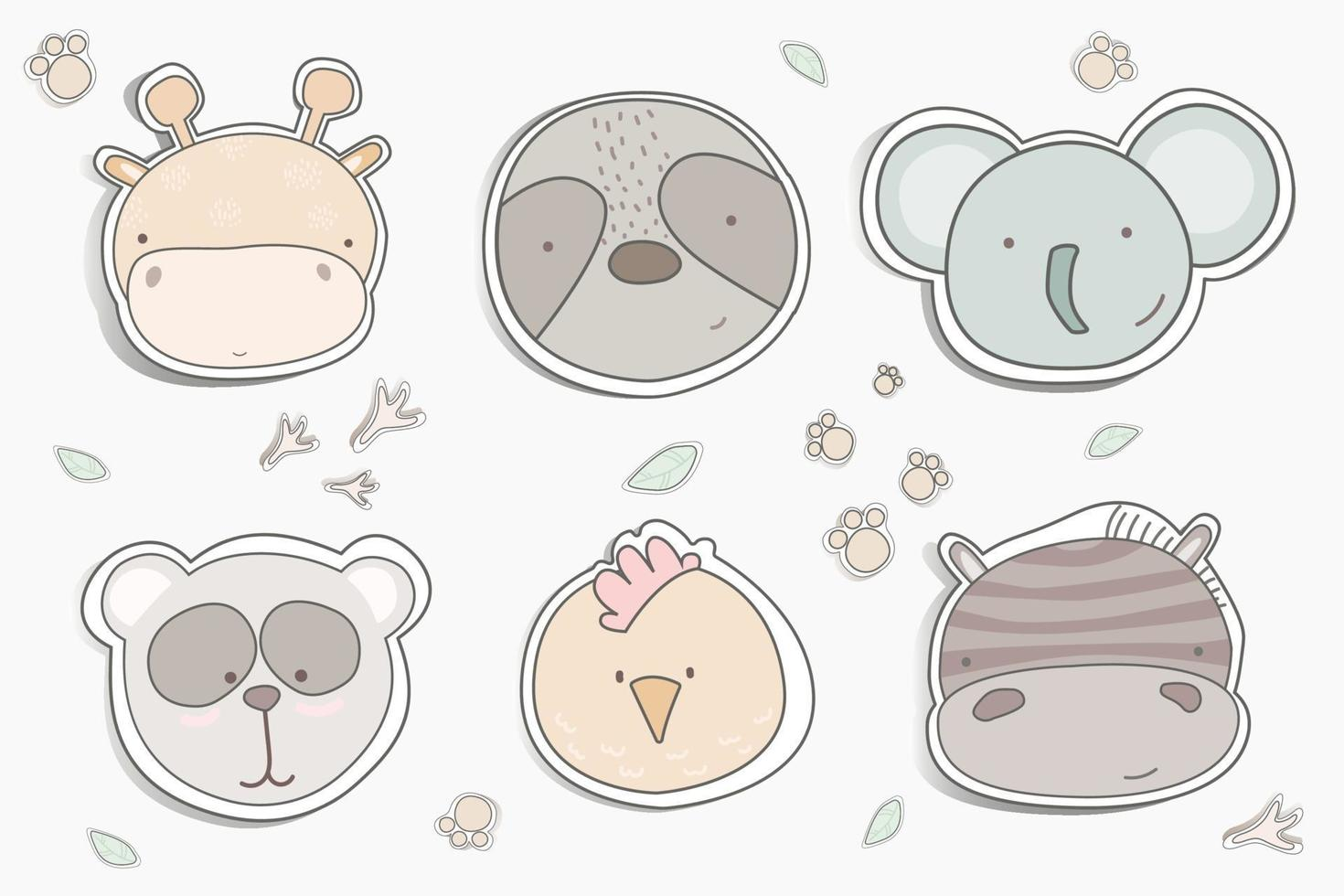 Cartoon cute animals set for baby card and invitation vector