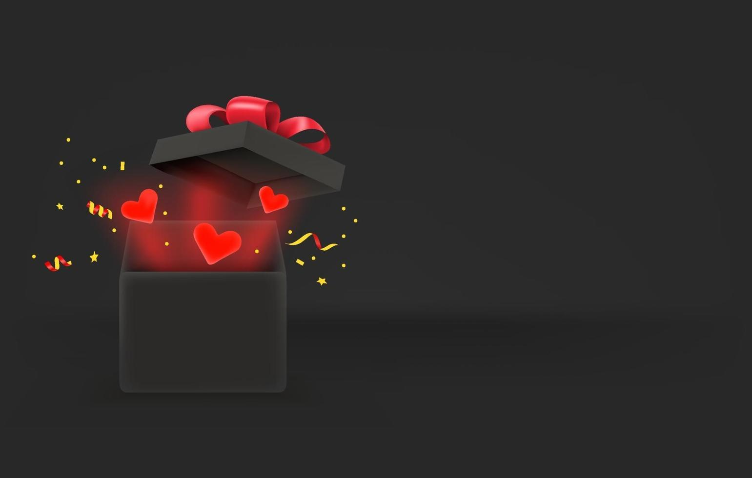 Opened gift box with red hearts. Love concept. 3d style vector banner with copy space
