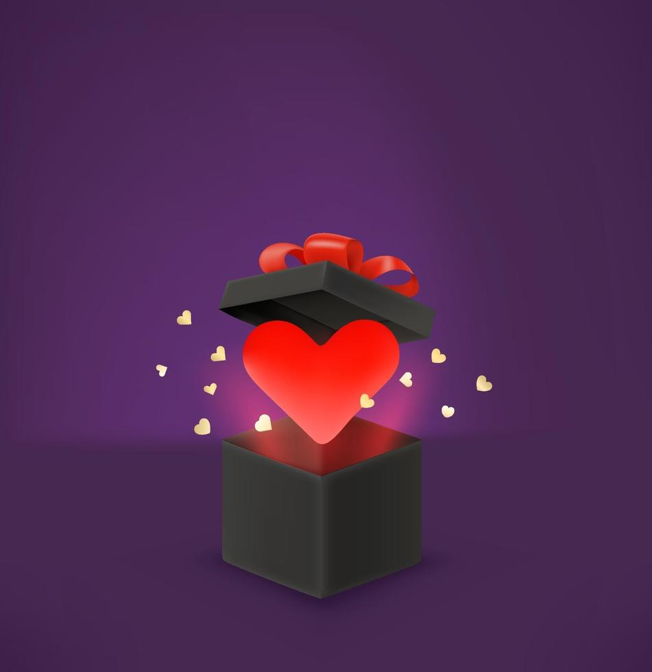 Opened black box with red heart. Gomantic greeting card vector template