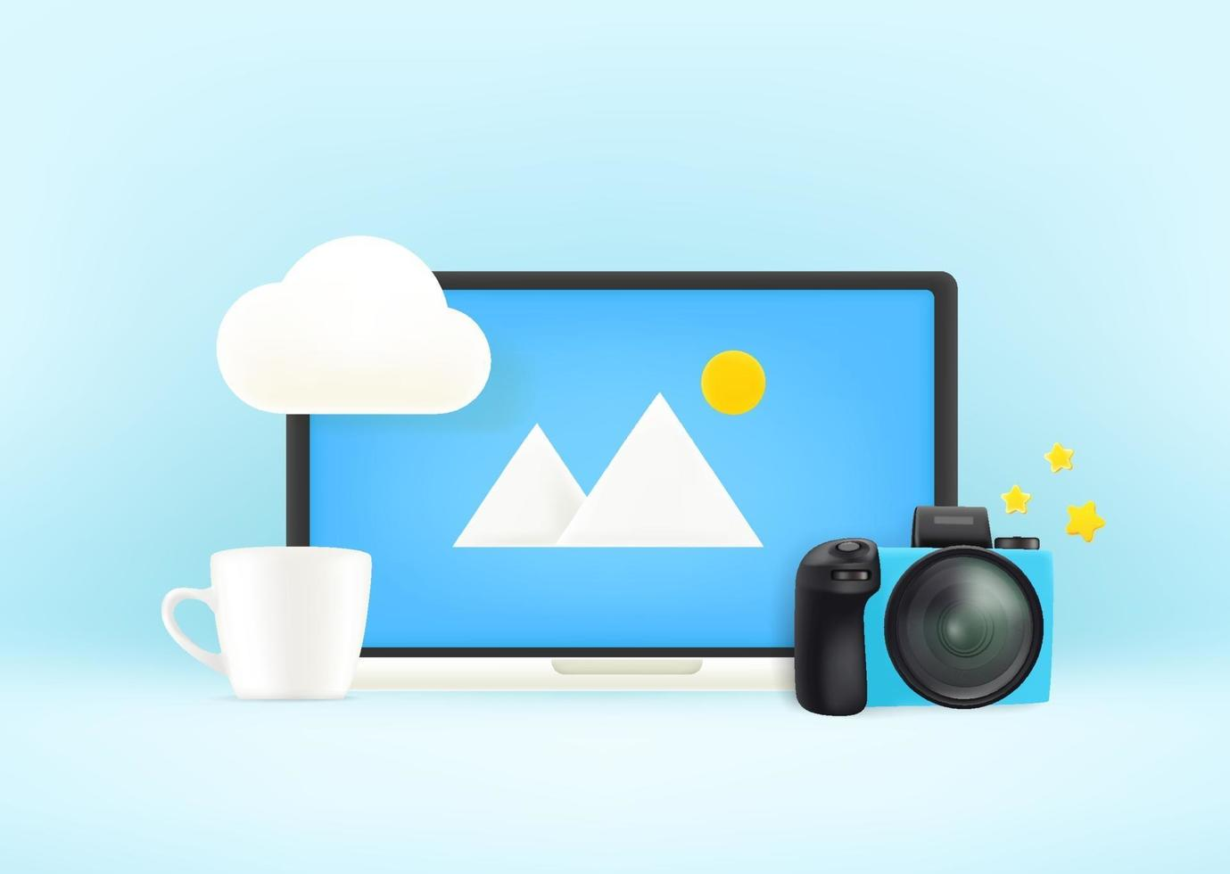 Modern laptop with camera and cup. Working place concept vector