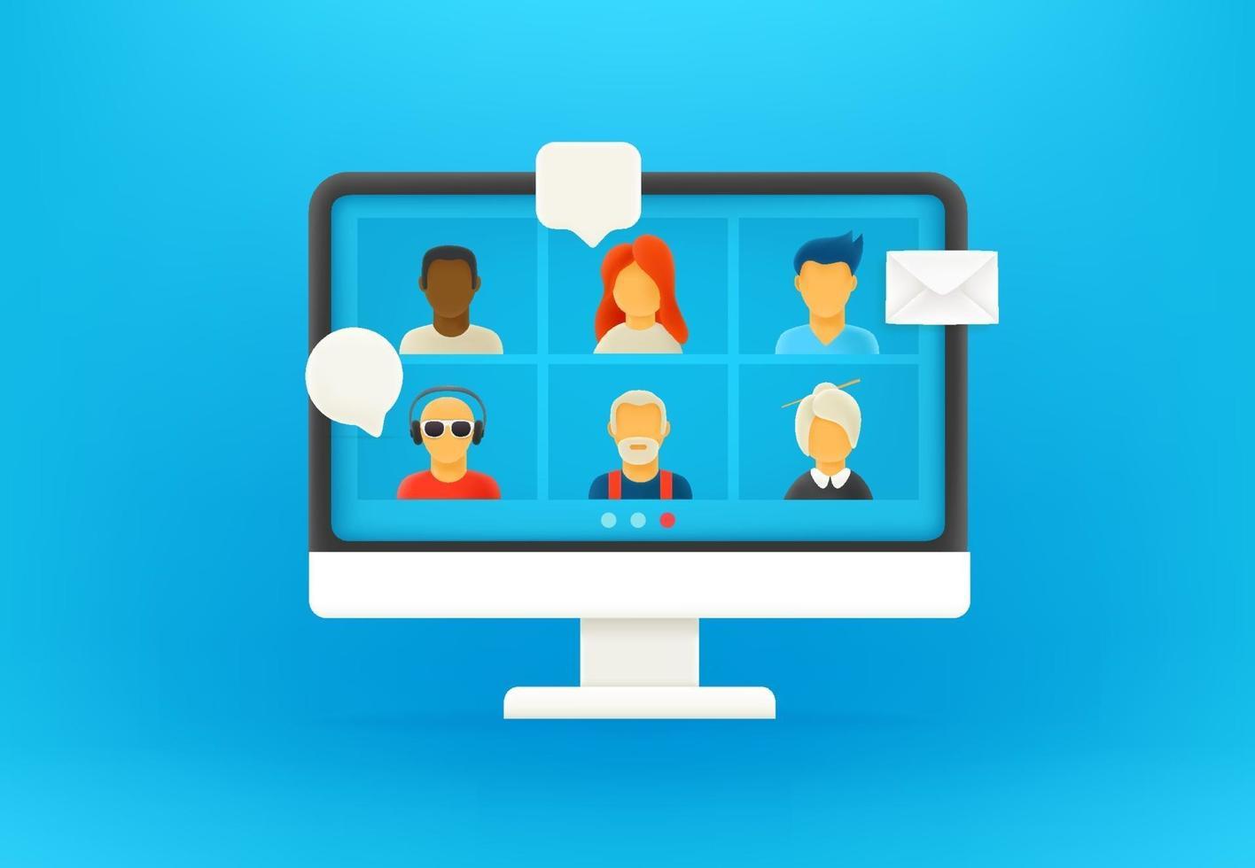 Conference via internet in coronavirus. 3d style  vector illustration