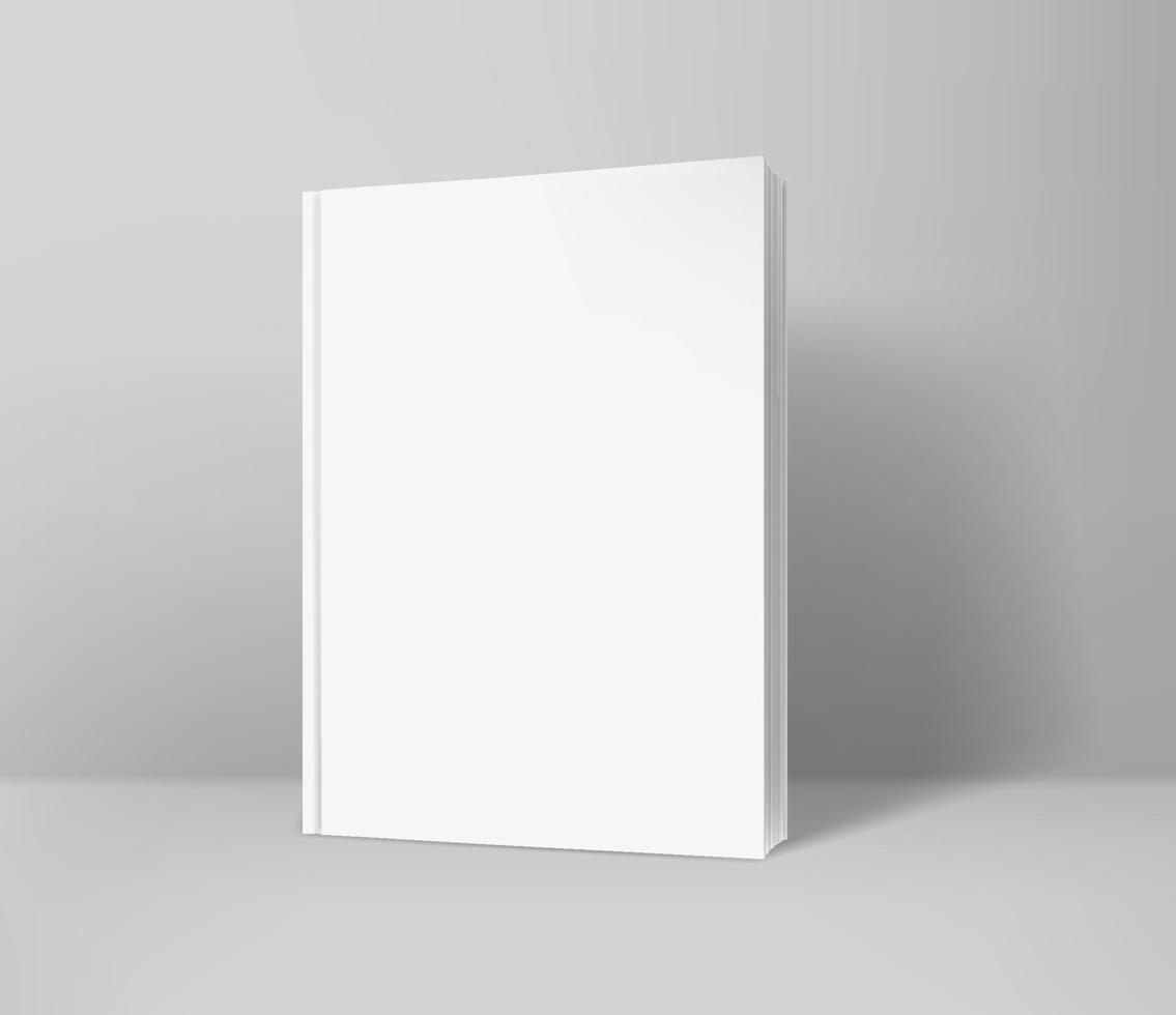 Front of the paper book realistic vector illustration. Template for design. Vector mockup