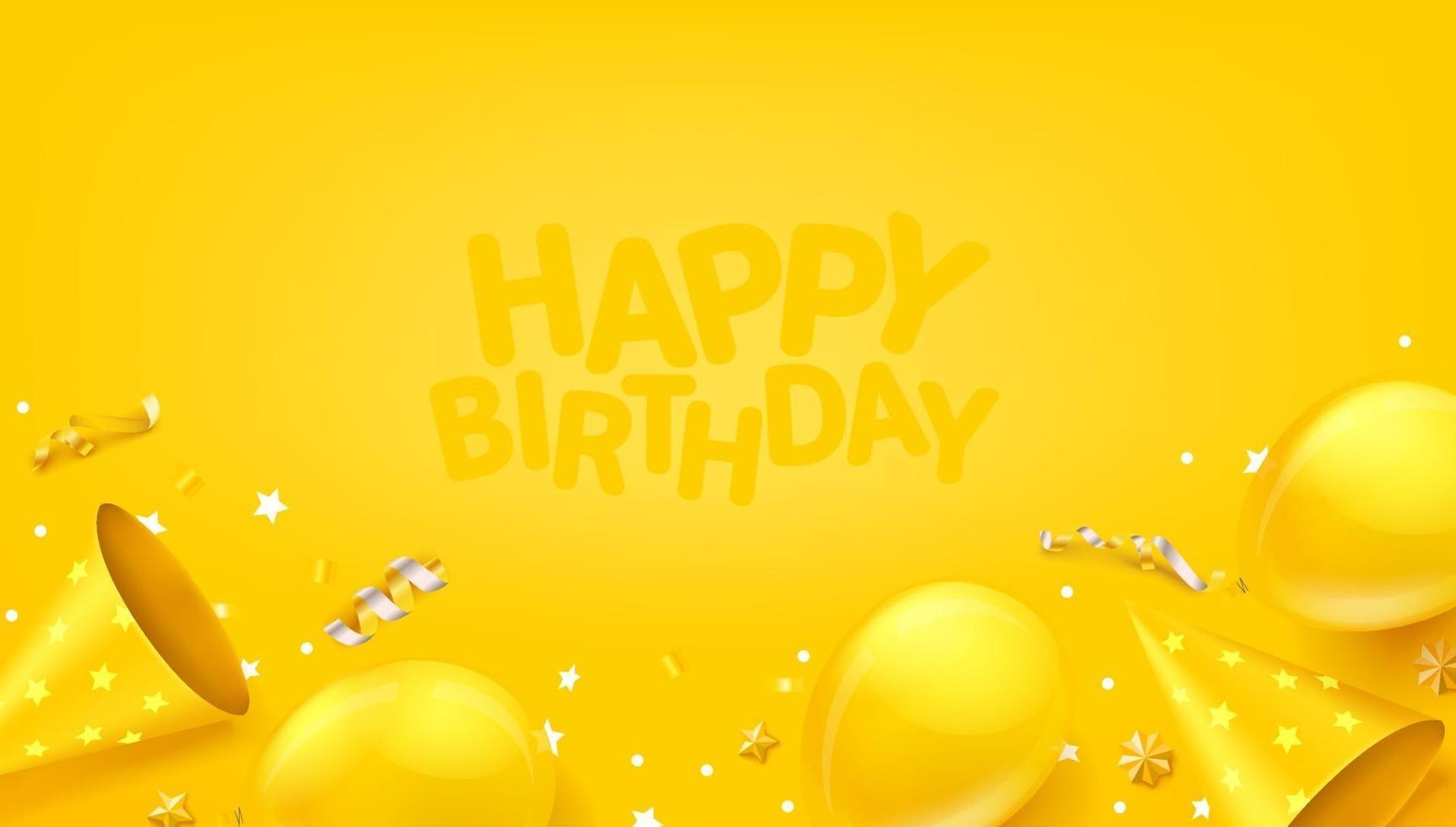 Happy birthday vector banner with ballons, confetti and hats