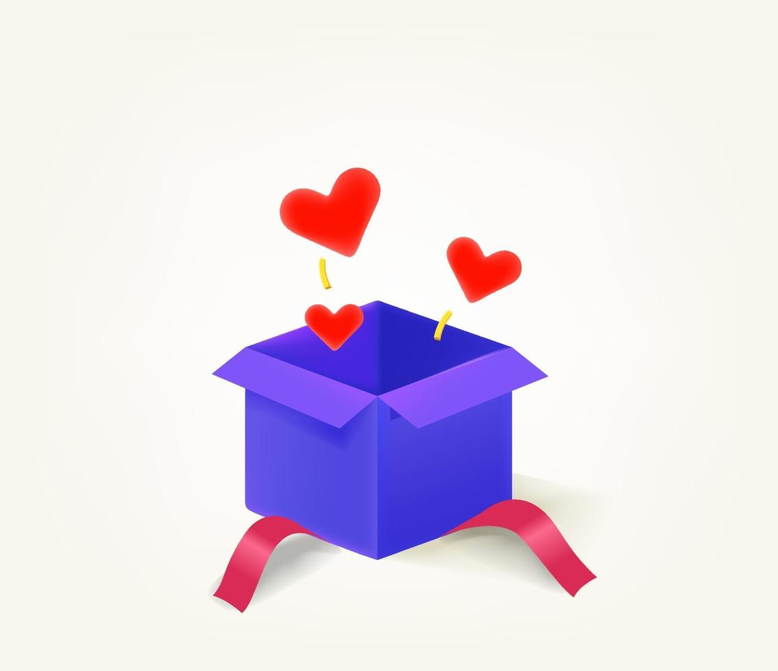 Opened gift box with red hearts vector