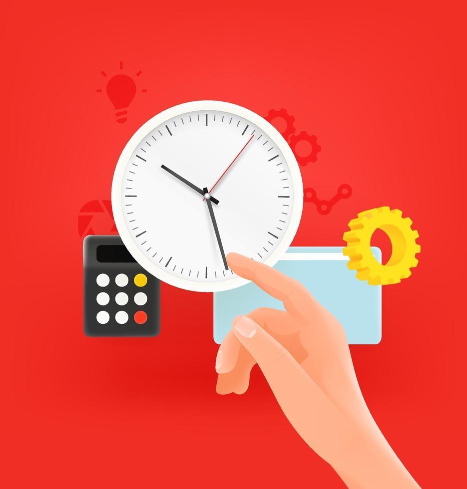 concepto de vector de gestión del tiempo. portátil moderno con reloj y mano de un hombre