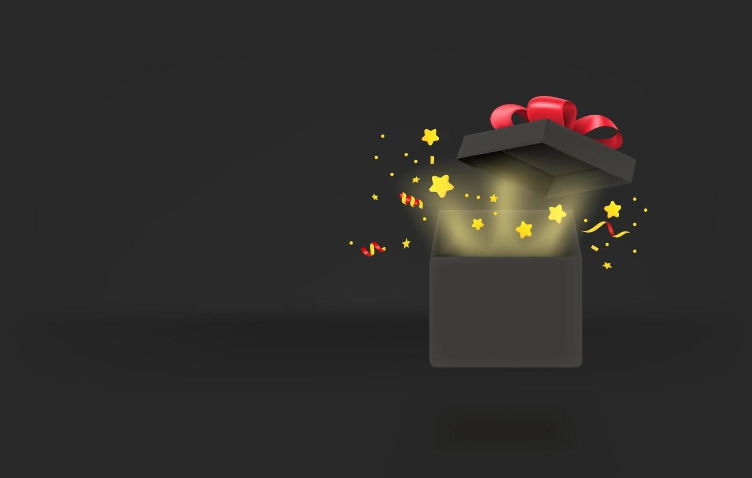 Opened gift box with glow effect. 3d style vector banner with copy space