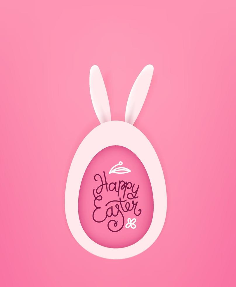 Happy Easter vector greeting card with egg and hare. Cute cutout style vector illustration