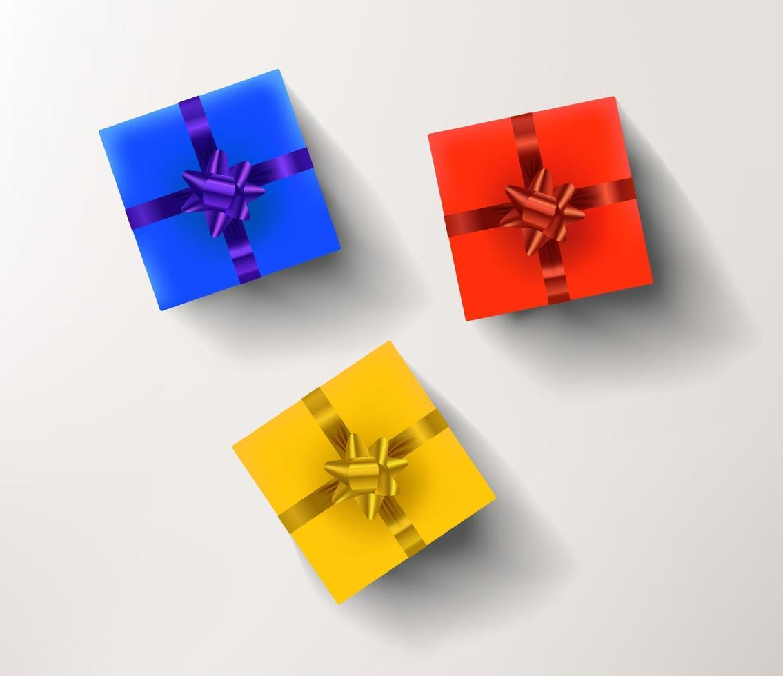 Yellow, red and blue gift boxes isolated on white background vector