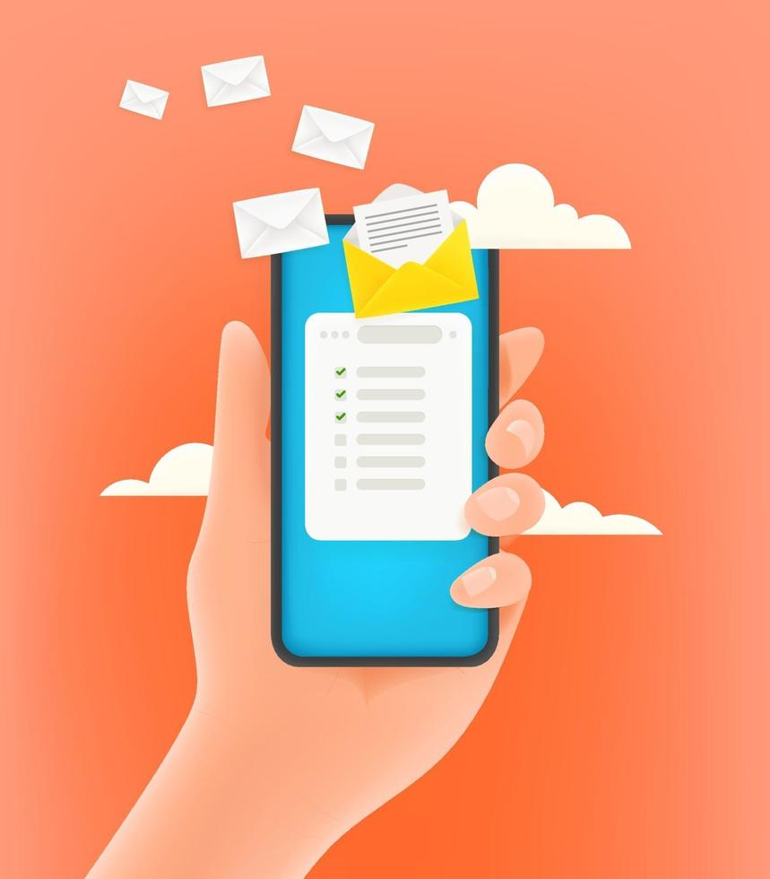 Receiving electronic mail via mobile phone. 3d style cute vector illustration