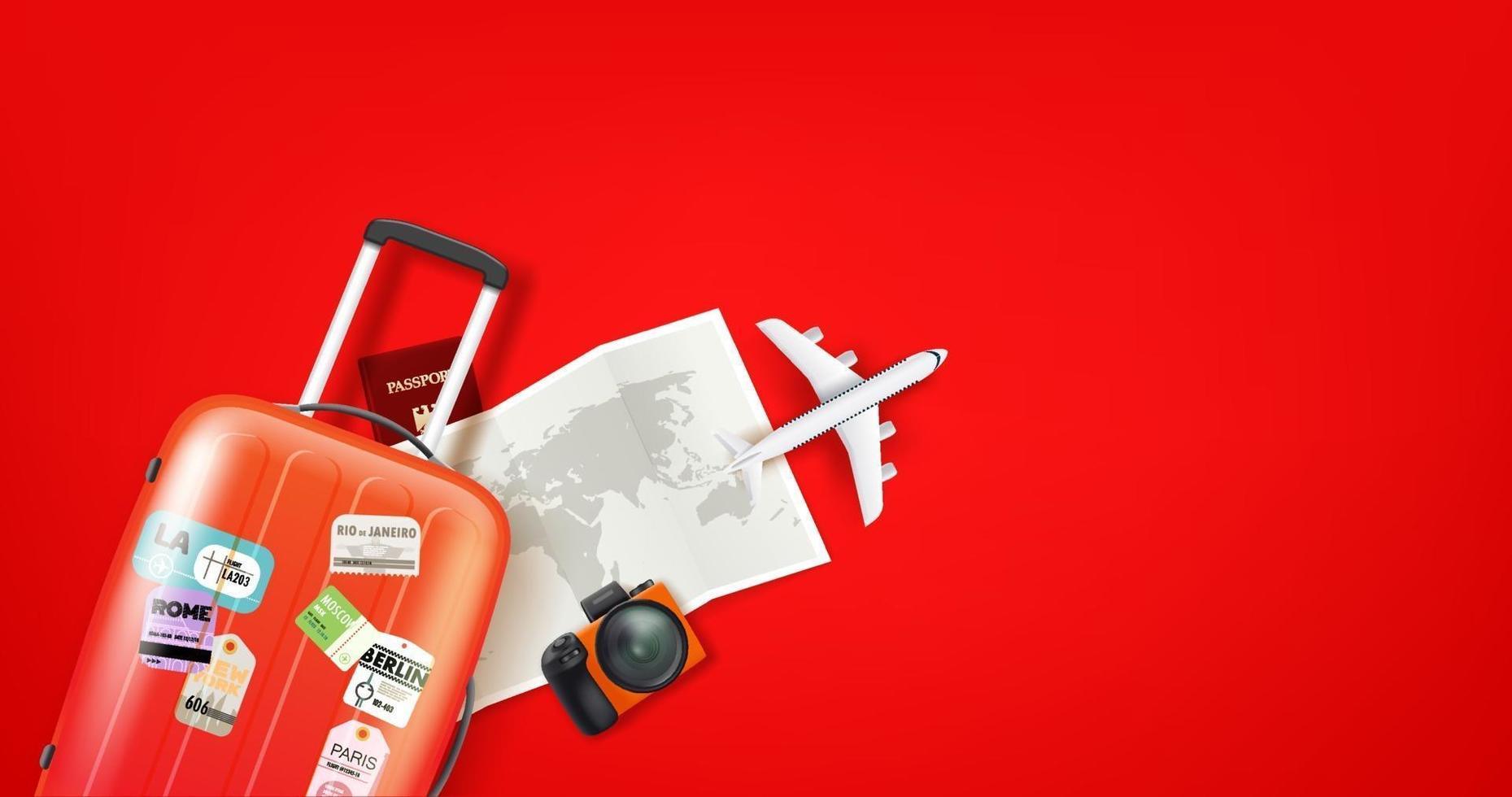 Travel illustration with orange suitcase vector