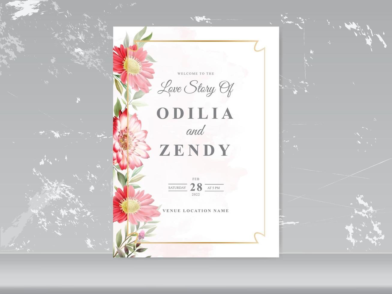 Wedding invitation cards with greenery floral design vector
