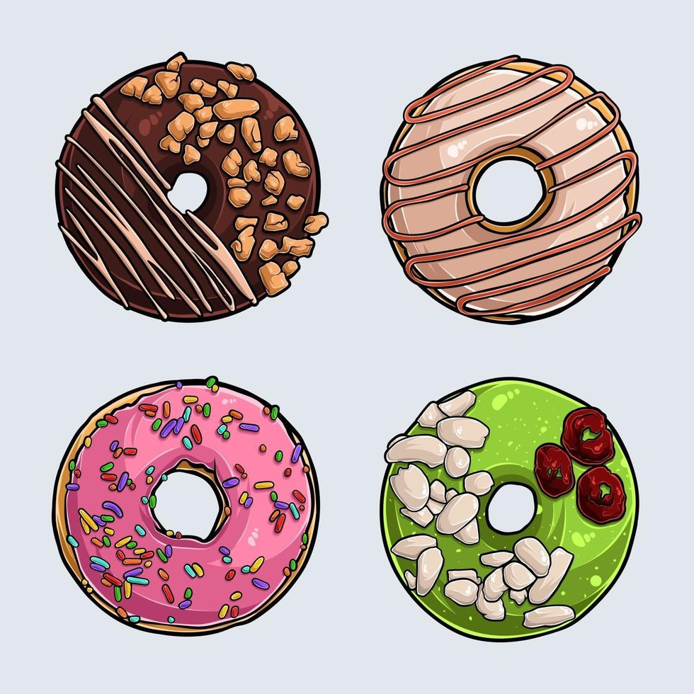 Set of different delicious donuts with pink icing, chocolate, pistachio and cream vector