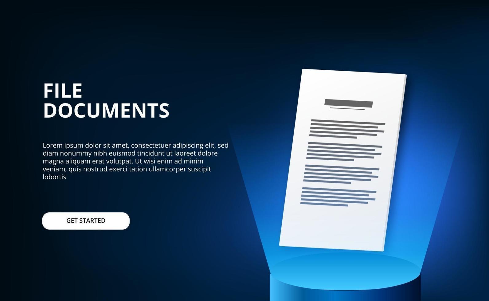 Documentos de archivo 3d en papel con podio de cilindro 3d con tecnología de luz azul vector