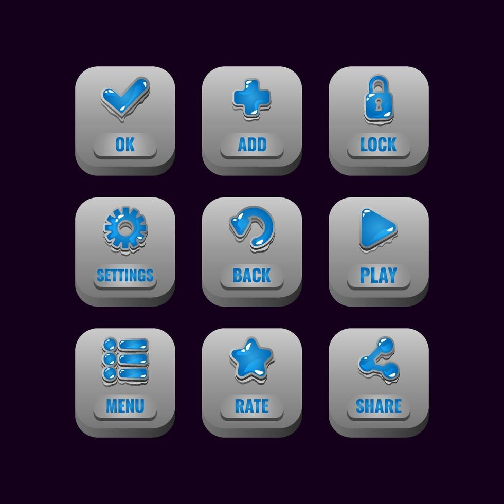 collection set of square stone buttons with jelly icons for game ui asset elements vector illustration