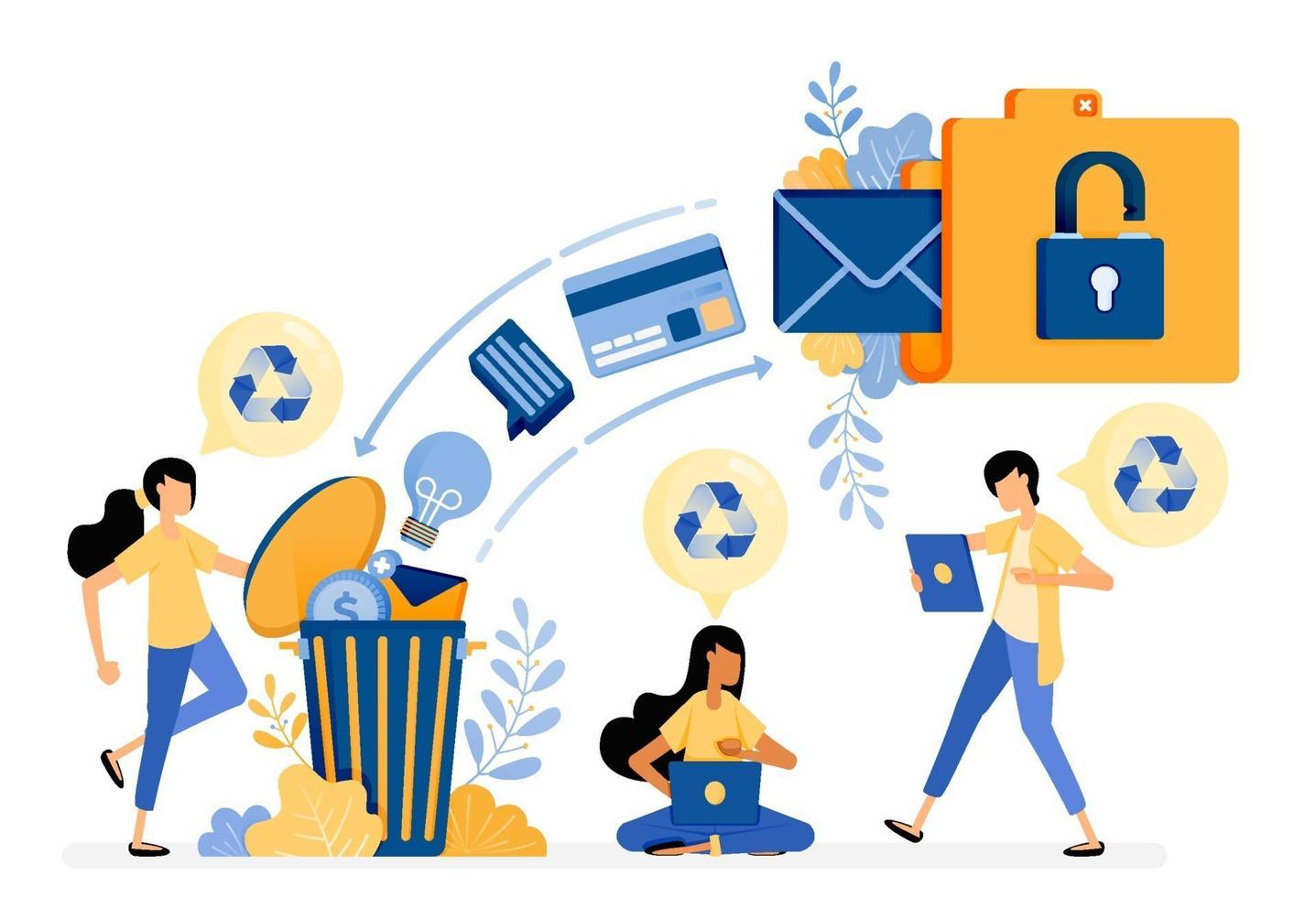 Banner vector design of wasting archive data into recycle bin with protection and security system. Illustration concept be used for landing page, template, ui, web, mobile app, poster, banner, website