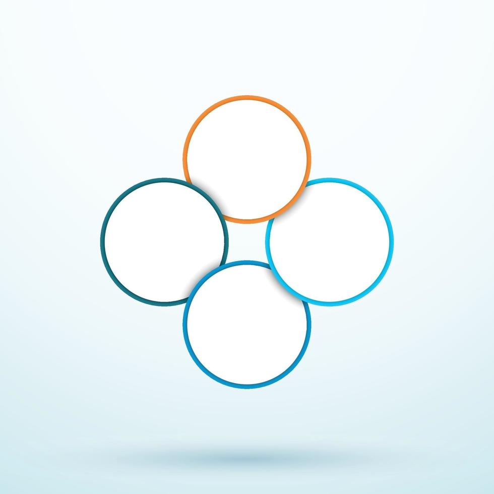 Infographic Four Circle Diagram Linked Segments Template vector