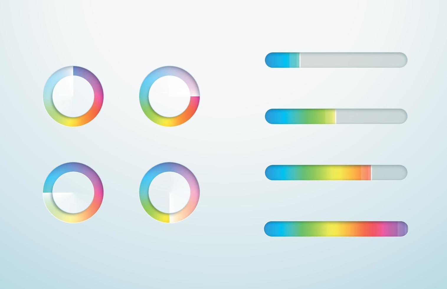Loading Icon Progress Bar Symbol Gradient Vector Set
