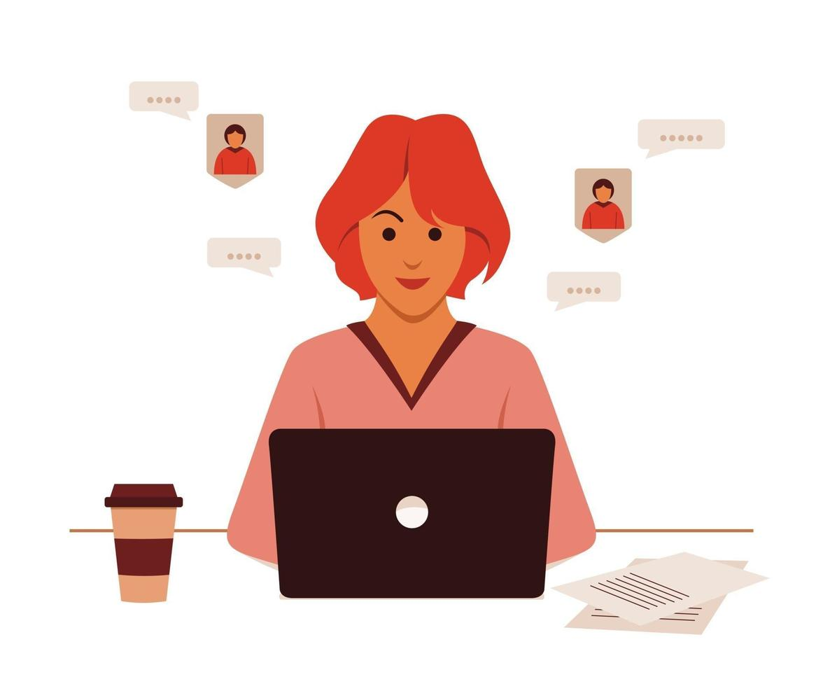 Freelance Woman is Online Working with Laptop from Home. vector