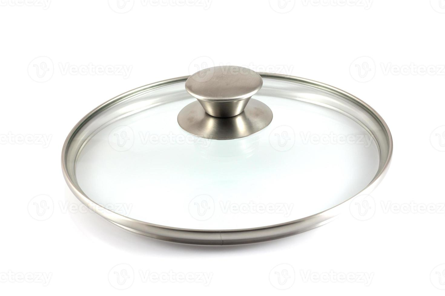 Stainless steel pot lid isolated in white background photo