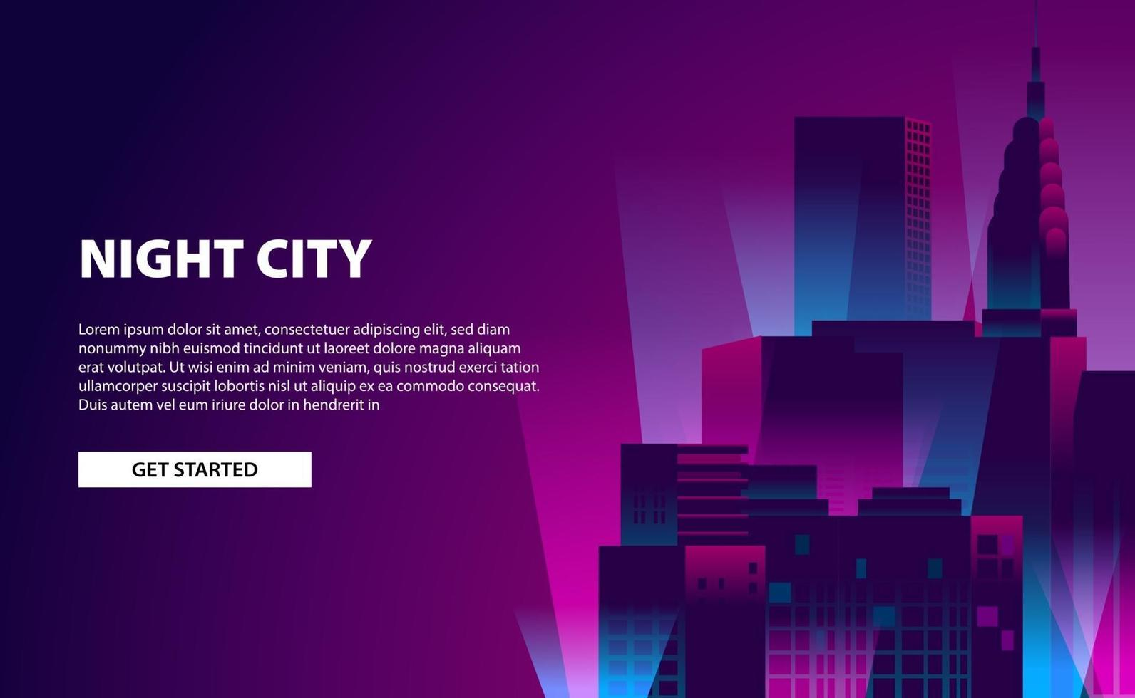 Landing page banner glow neon color city night illustration with skyscraper building with dark background vector