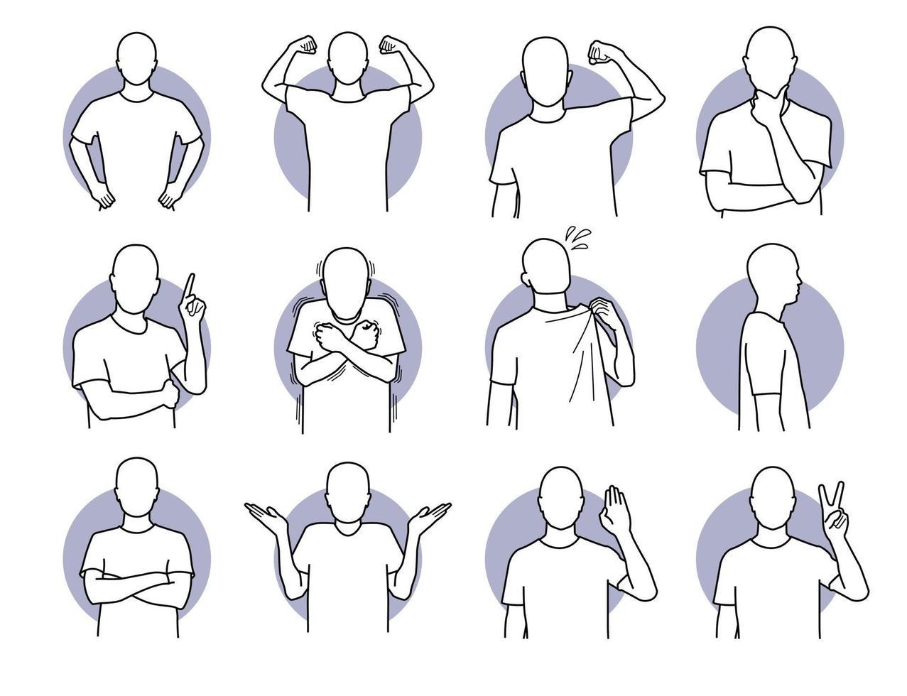 Conjunto de acciones humanas básicas y lenguajes corporales. vector