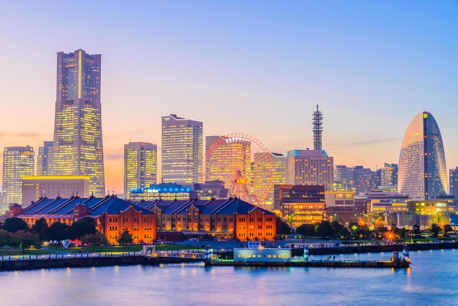 horizonte de la ciudad de yokohama, japón foto
