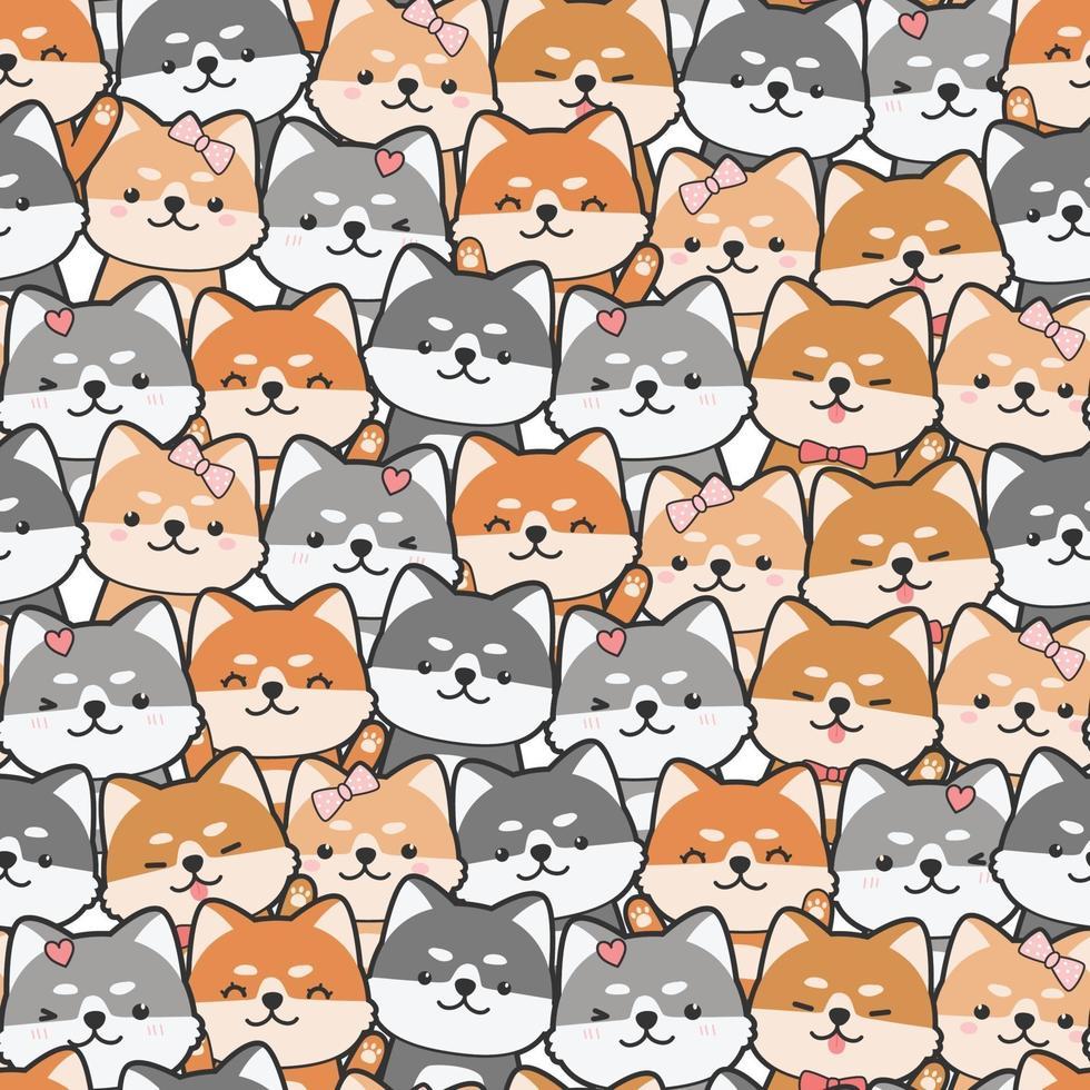 Cute shiba inu dog cartoon doodle seamless pattern vector