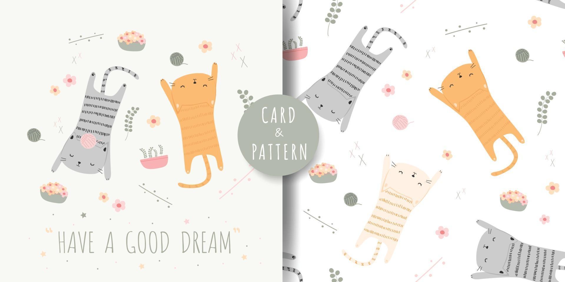 Cute cat kitten sleeping cartoon pastel color card and seamless pattern bundle vector