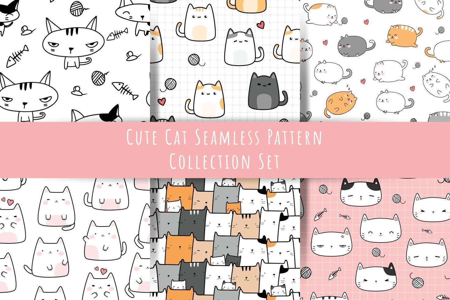 Set of Cute cat kitten cartoon doodle seamless pattern bundle vector