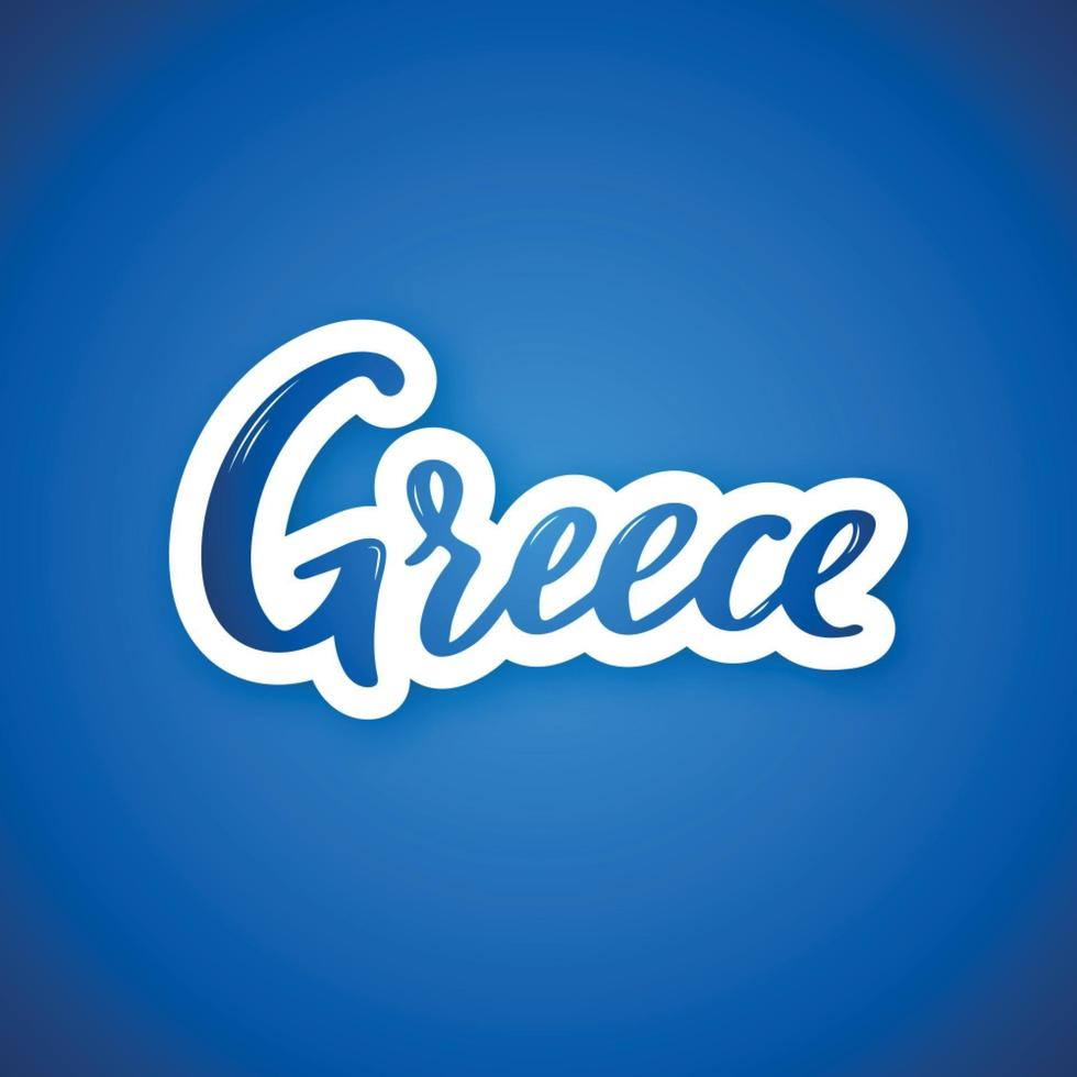 Greece - hand drawn lettering country name. Sticker with lettering in paper cut style. vector
