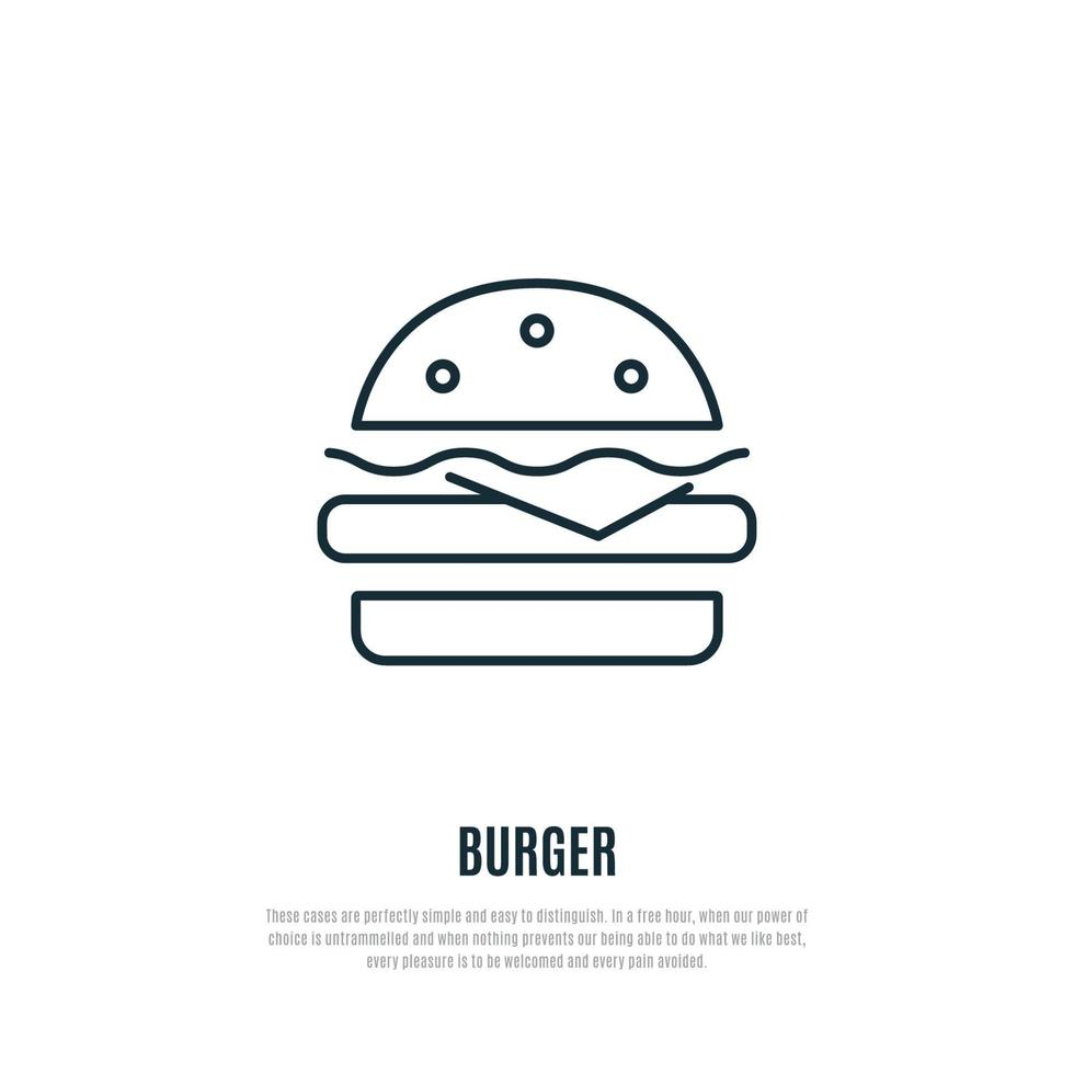 Burger line icon. Fast food symbol. Liner style. vector