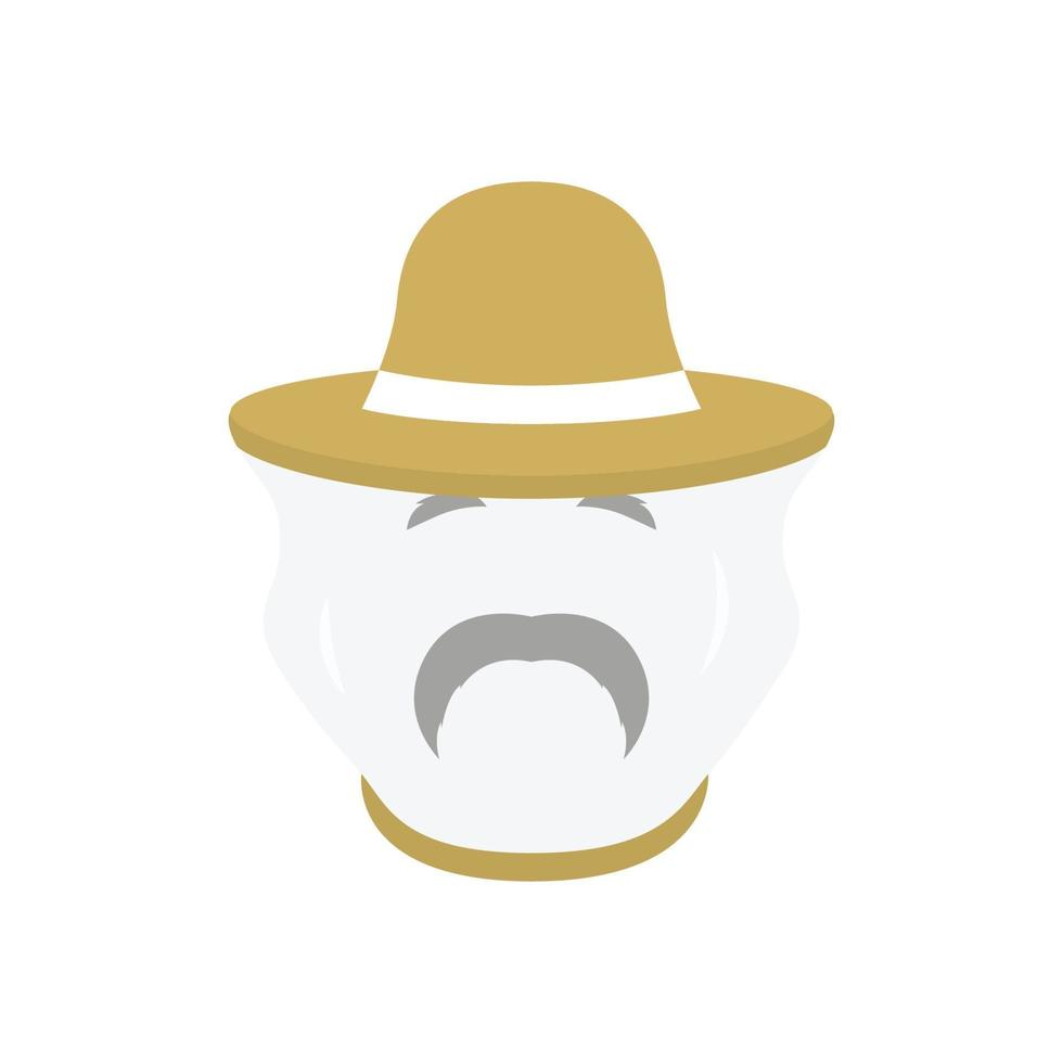 Beekeeper with protect hat icon. Men farmer face. vector