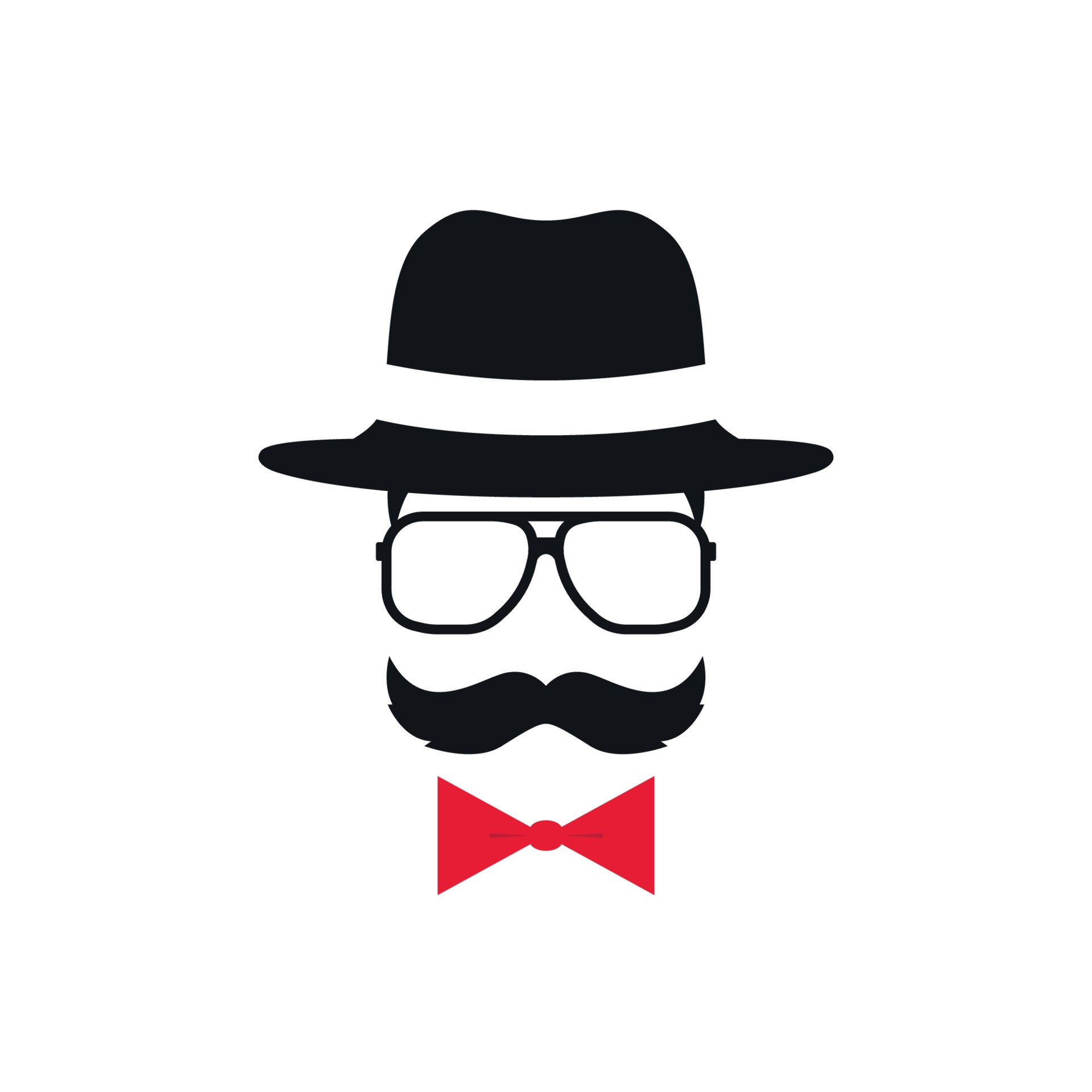 ALUONI 5x3ft Hipster Abstract Man in A Hat Portrait with Glasses Mustache and Backdrop for Photography Photo Background for Family Party Pictures Customized Photo Booth Studio Props AM017662