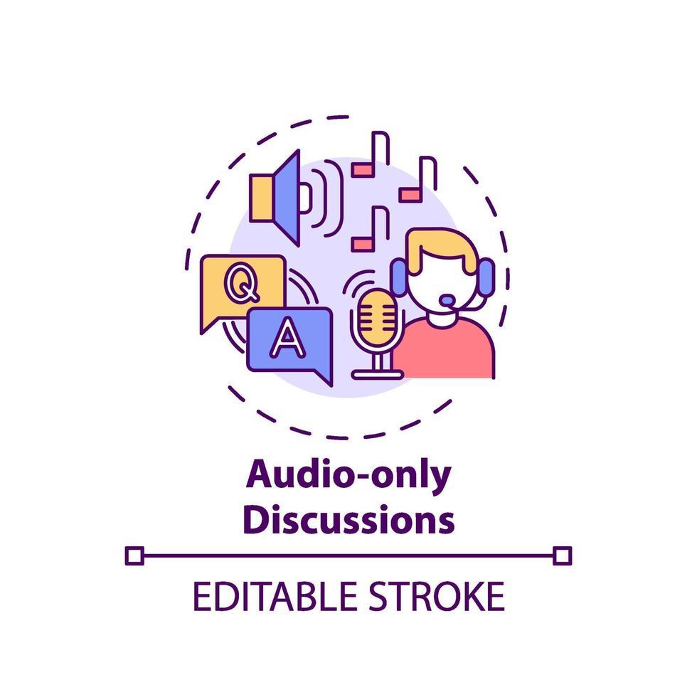 icono de concepto de discusiones de solo audio vector