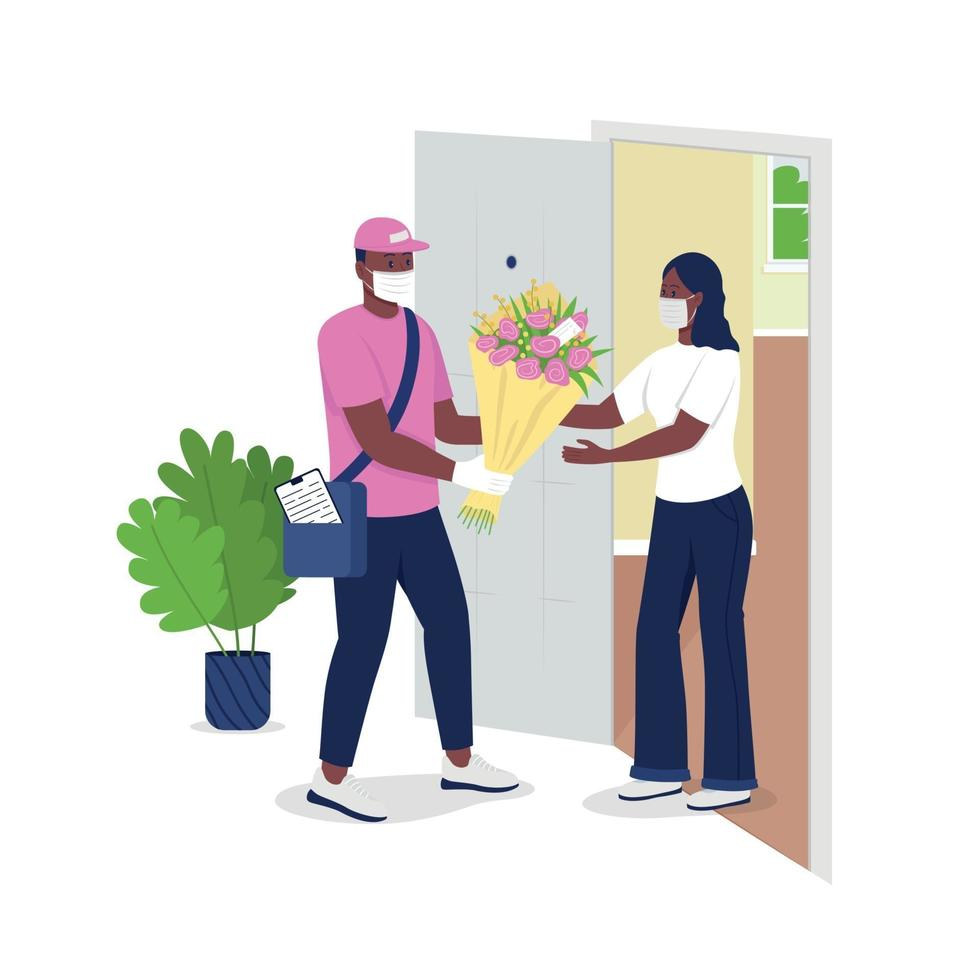 Delivery man in face mask gives woman flowers flat color vector detailed characters
