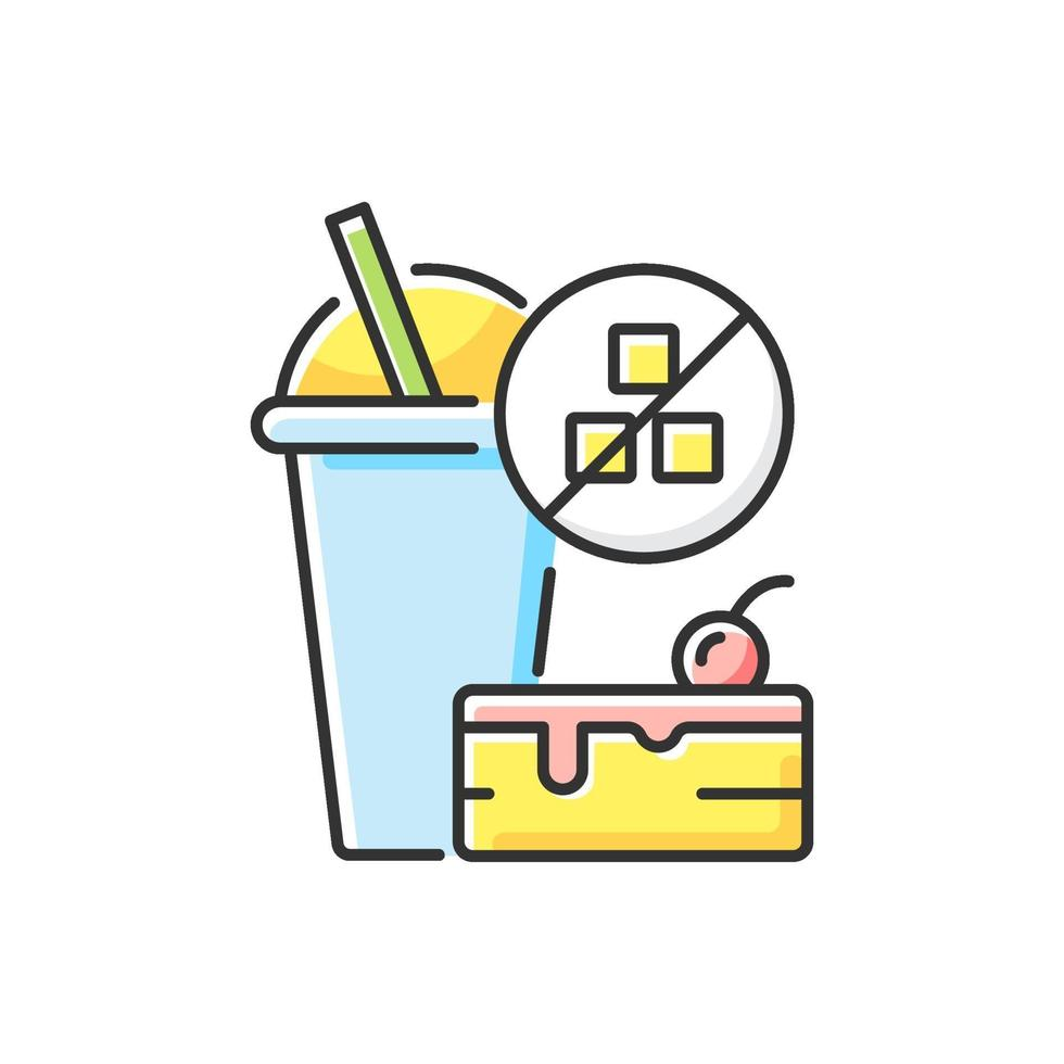 sin azúcar añadido icono de color rgb vector