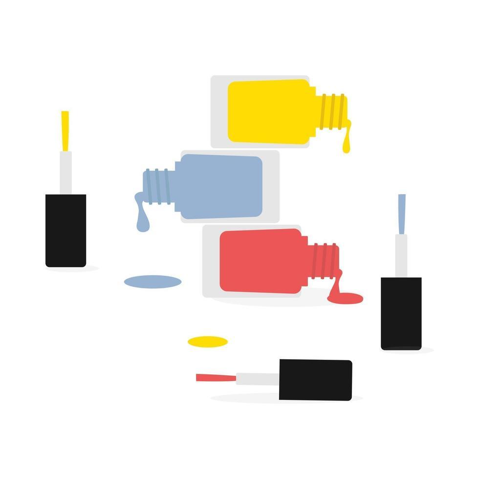 Ilustración de vector de esmalte de uñas aislado. vector de laca de uñas con colores de moda 2021.