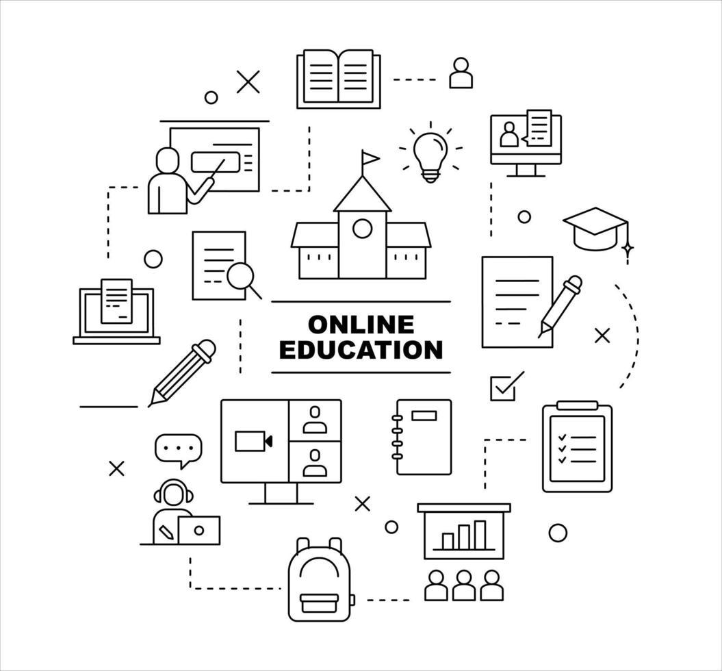 conjunto de iconos de educación en línea. Ilustración de vector mínimo de estilo de diseño plano.