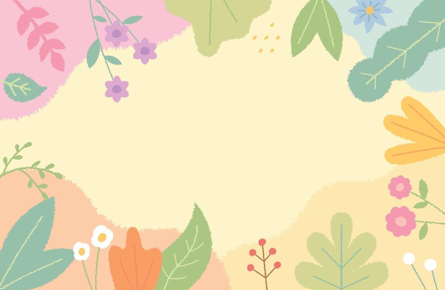 Ilustración de tarjeta decorada con lindas flores y hojas en el borde. plantilla de diseño de patrón simple. vector