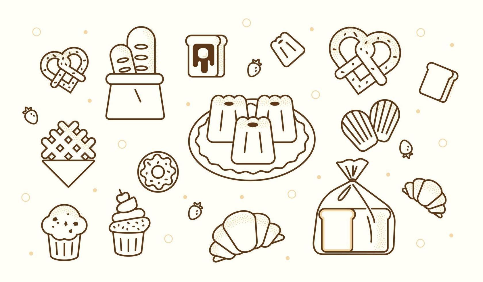delicioso dibujo de líneas de objetos de panadería. Ilustración de vector mínimo de estilo de diseño plano.
