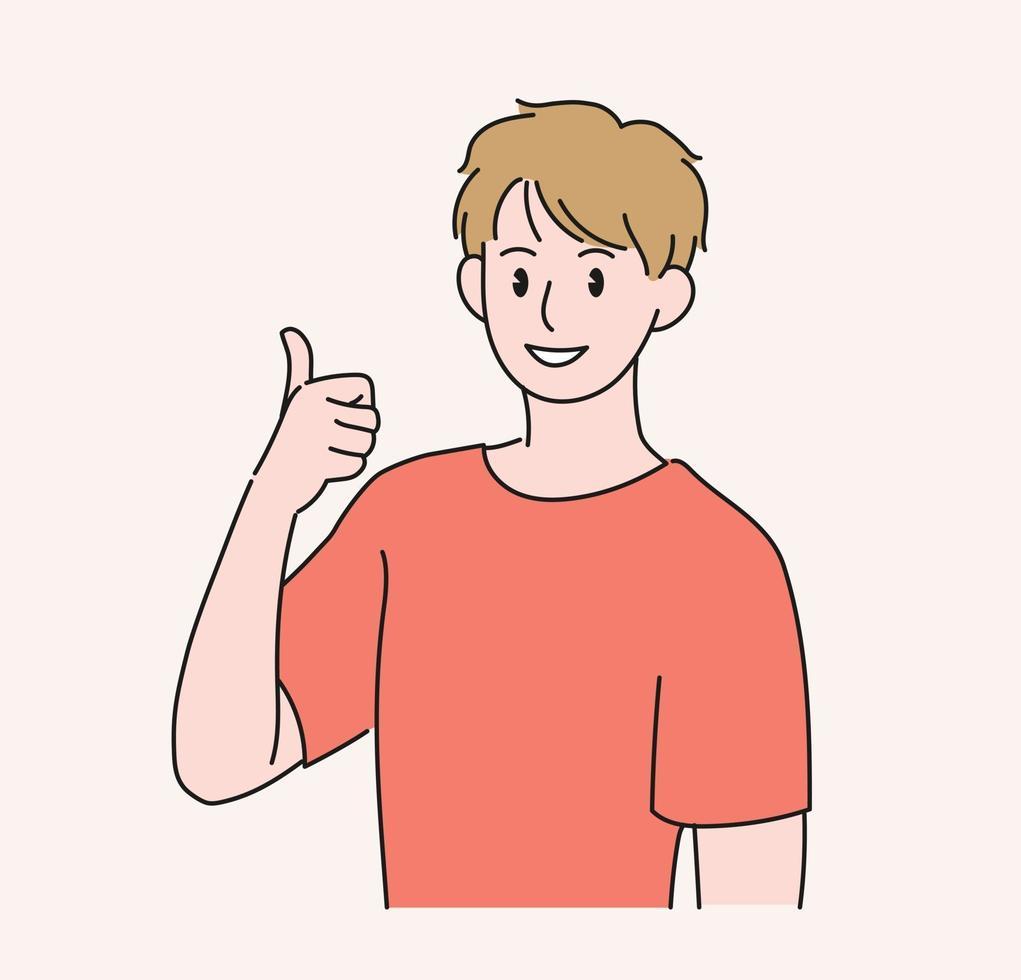 un hombre levanta el pulgar. ilustraciones de diseño de vectores de estilo dibujado a mano.