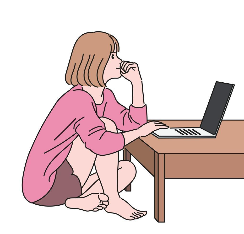 una niña está sentada en el suelo y pensando mientras trabaja en una computadora portátil. ilustraciones de diseño de vectores de estilo dibujado a mano.