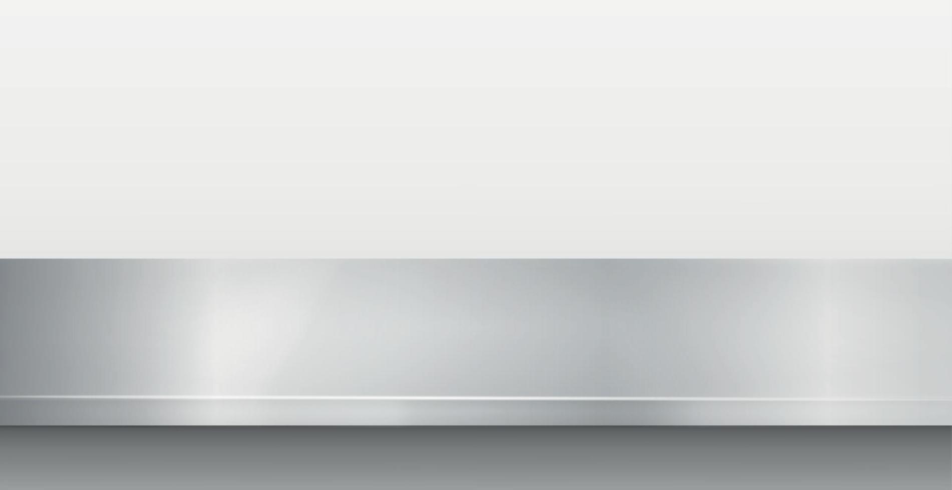 Encimera de cocina de metal, textura de hierro, mesa grande sobre un fondo blanco - vector
