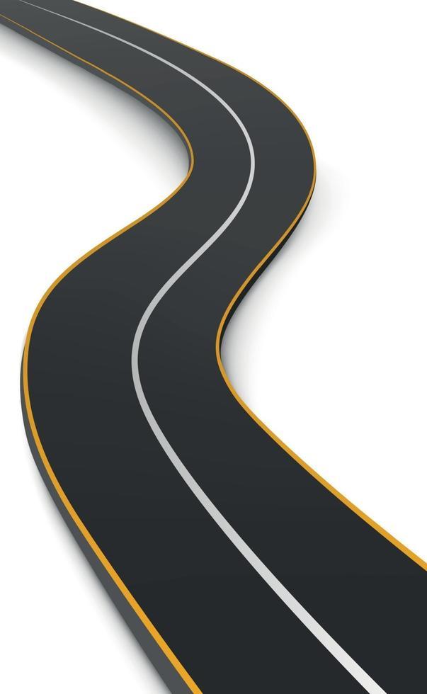 Carretera sinuosa realista que se extiende hacia el horizonte - vector