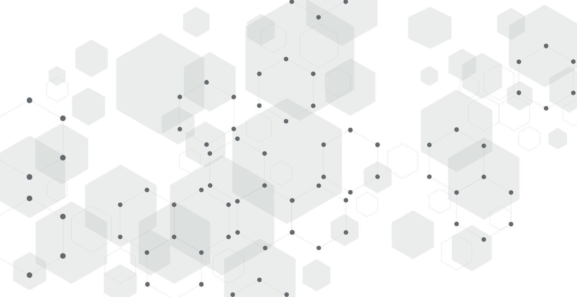 fondo blanco de puntos, líneas y hexágonos - vector